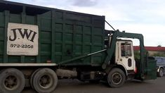 1970s garbage truck | OLD Mack Front Loader Trash Truck Picking Up & Emptying a Skip [HD ...