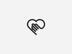 Dribbble - Mark by Julius Seniūnas Heart + Hand combined icon Typography Logo, Logo Branding, Branding Design, Logo Design, Corporate Design, Logo Luxury, Beste Mama, Logos Cards, Love Logo