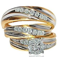 Amazon.com: His and her Trio Ring set Wedding Ring Yellow gold .43ct w ...