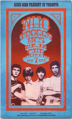 1968 promotional poster for The Who live at the CNE in Toronto, Canada.