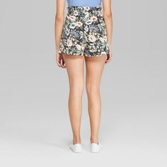 b50ab1d0805be Women s Floral Print High-Waist Paper Bag Shorts - Wild Fable Hematite Gray  Xxl