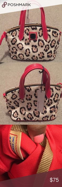 """Authentic RED trim Leopard crossbody satchel Love classics with a trendy twist? You'll go wild for this petite animal-print mini satchel from Dooney & Bourke, perfectly sized for everyday endeavors with a pop of red leather  that really stands out.  Double handles with 3-1/2"""" drop; adjustable shoulder strap with 25"""" drop Top zip closure Exterior features gold-tone hardware and logo plaque Interior features 1 zip pocket, 2 slip pockets, 1 cellphone pocket and key hook 9"""" W x 6-3/4"""" H x 4-1/4""""…"""