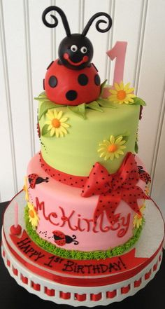 Lady Bug First Birthday Cake