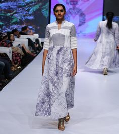 White, Grey & Blue Cotton Tie Dyed Dress #designerwear #satin #crepe #fusionwear