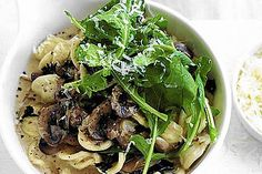 ORECCHIETTE PASTA WITH MUSHROOMS, SPINACH AND PECORINO