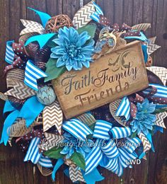 1STANNIVERSARY SALE. Deco Mesh Wreath, Inspirational Wreath, Faith Family Friends, Brown and Blue Wreath by LadybugWreathDesigns on Etsy