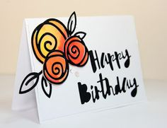Simon Says Stamp exclusives dies painted happy birthday and single roses #sssfaves