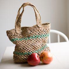How to make plarn for crochet or knitting ~ plastic bag yarn