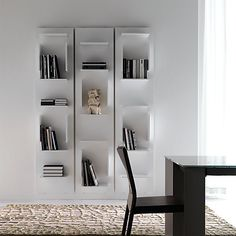 Wall-mounted sectional lacquered bookcase FIFTY By Cattelan Italia design Luigi Trenti Modern Bookshelf, Bookcase Wall, Bookshelf Design, Wall Shelves, Glass Bookcase, Corner Shelves, Book Shelves, Wooden Living Room Furniture, Bibliotheque Design
