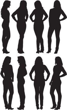 Vectores libres de derechos: Multiple images of a woman posing
