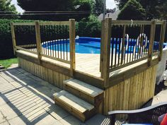 When you plan to invest in patio furniture you want to find some that speaks to you and that will last for awhile. Although teak patio furniture may be expensive its innate weather resistant qualit… Above Ground Pool Landscaping, Above Ground Pool Decks, In Ground Pools, Backyard Landscaping, Backyard Ideas, Backyard Pool And Spa, Decks Around Pools, Hot Tub Deck, Patio Seating