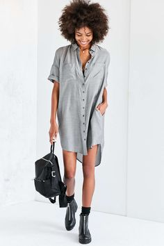 BDG Carter Cocoon Shirt Dress - Urban Outfitters