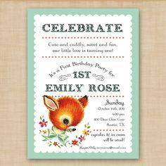 baby animal first birthday invitation