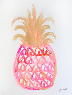 Pineapple 9 - an original painting by Jen Ramos at Cocoa & Hearts