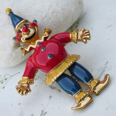 Items similar to Vintage Red, Blue, Yellow Enamel Jointed Clown Brooch on Etsy Big Yellow, Blue, Clown Suit, Send In The Clowns, Cute Pins, Red Shirt, Vintage Brooches, Vintage Items, Enamel
