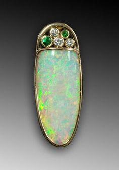 14K gold opal, tsavorite garnets and diamonds pendant