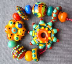 Color Addict - Handmade Lampwork Beads Set (13) by Anne Schelling, SRA