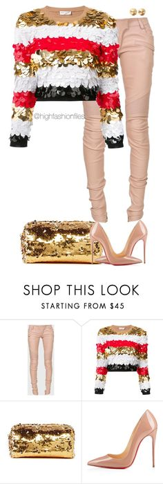 """""""Untitled #2661"""" by highfashionfiles ❤ liked on Polyvore featuring Balmain, Sonia Rykiel, Deux Lux, Christian Louboutin and Eddie Borgo"""