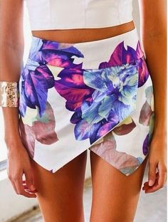 White Painted Envelope Skirt. #floral