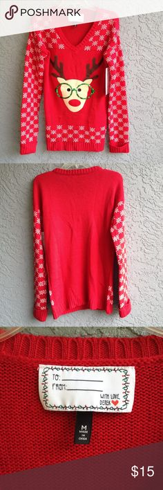Reindeer Christmas sweater New never worn. Perfect for the holiday season and your ugly sweater party! who doesn't need an ugly Christmas sweater? Derek Heart Sweaters Crew & Scoop Necks