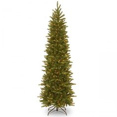 7.5 ft. Prelit Slim Christmas Trees Grand Pencil Slim Tree With Clear Lights New #TreeCompany