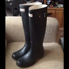"""Selling this """"HUNTER HUNTING TALL BLACK RUBBER RAIN BOOTS sz 7.5"""" in my Poshmark closet! My username is: backbend31. #shopmycloset #poshmark #fashion #shopping #style #forsale #Hunter Boots #Boots"""