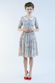 Lilac Dress , 40s Dress , Silk Dress , Peter Pan Collar , Flower Print Dress by Mrs Pomeranz