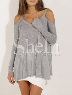 Shop Grey Long Sleeve Off The Shoulder Sweater online. SheIn offers Grey Long Sleeve Off The Shoulder Sweater & more to fit your fashionable needs.
