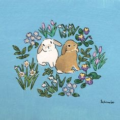 Schinako Bunny Art — February when spring is long in coming🎀 Bunny Drawing, Bunny Art, Pretty Art, Cute Art, Animal Drawings, Cute Drawings, Lapin Art, Art And Illustration, Aesthetic Art