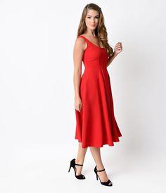 1950s Style Red Sleeveless Tea Length Swing Dress