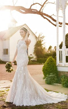 Lace Wedding Dresses | Lace High Neck Wedding Gown | Martina Liana
