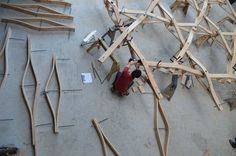 Experimentelle Überdachung Wood Shelter, Design & Make Programme, AA London School Of Architecture
