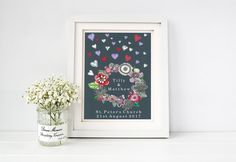 Personalised Wedding fine art print that would make the perfect gift to celebrate a wedding and love in all its forms. Wedding gift