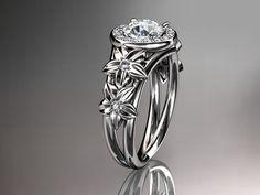 14kt white gold diamond floral wedding by anjaysdesigns on Etsy, $1,549.00