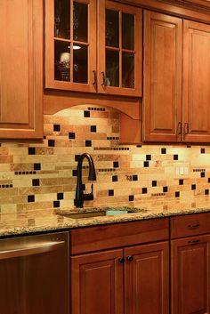 Travertine kitchen backsplash tile trends from Backsplash.com