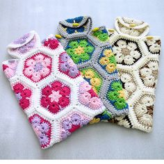 This hot water bottle cover is hand crocheted with African flower motifs on both the front and back Hand made with acrylic yarn in cream off white taupe and brown Diy Crochet And Knitting, Crochet Wool, Crochet Winter, Crochet Cross, Crochet Bear, Hexagon Crochet Pattern, Crochet Projects, Knitting Projects, Yarn Crafts