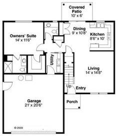 Farmhouse Style House Plan - 4 Beds 2.50 Baths 1471 Sq/Ft Plan #124-770 Floor Plan - Main Floor Plan - Houseplans.com