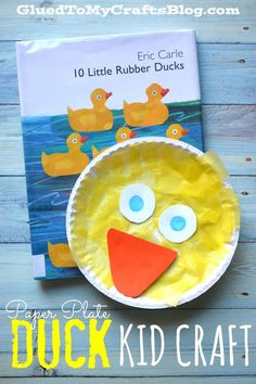 I'm going to share with you all how we recently made this Paper Plate Duck Kid Craft that goes along perfectly with the Eric Carle book 10 Rubber Ducks. Eric Carle, Daycare Crafts, Preschool Crafts, Crafts For Kids, Preschool Books, Preschool Science, Toddler Art, Toddler Crafts, Crafts Toddlers