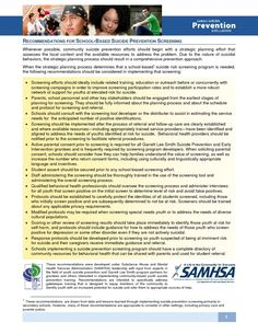 Recommendations for School-Based Suicide Prevention Screening