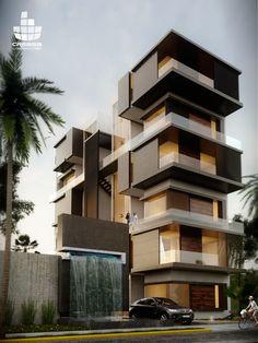 Grau on Behance Architettura moderna Futuristic Architecture, Facade Architecture, Residential Architecture, Contemporary Architecture, Architecture Interiors, Building Exterior, Building Facade, Building Design, Facade Design