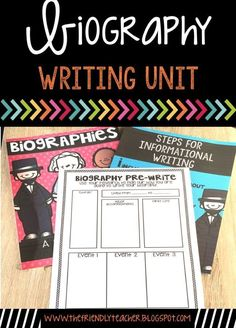 Have students research and create a biography of a famous person using this full writing unit. Writing Resources, Teaching Writing, Writing Activities, Teaching Ideas, Classroom Activities, Classroom Ideas, Reading Genres, Reading Comprehension, Fun Test