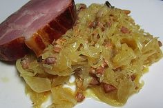 Avis Hatch - welcome Sauerkraut Recipes, Nutrition, Scallops, Chorizo, Cabbage, Pork, Food And Drink, Cooking Recipes, Beef