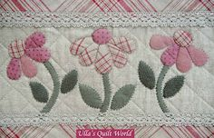 Daisies: a super border idea for a quilt or maybe a pillowcase, such possibilities