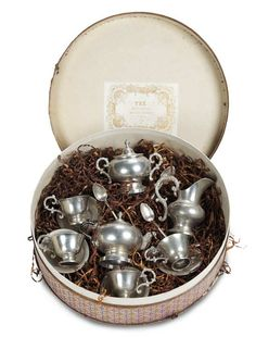 """Love this! Theriault's - Rare French Pewter Tea Service by C.B.G. in Original Labeled Gift Box, 2.5"""" Box, c 1873"""
