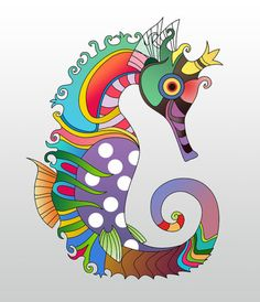 Seahorse Painting - Sea Life by Mark Ashkenazi Seahorse Painting, Seahorse Art, Seahorses, Seahorse Drawing, Artist Canvas, Canvas Art, Colorful Seahorse, Paint By Number Kits, Art Pages