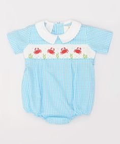 Look at this Blue Gingham Crabs Smocked Bodysuit - Infant on #zulily today!