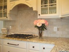 travistene back splash, completed kitchens. | The kitchen backsplash, shown here, is travertine.