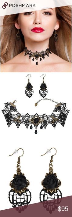 Black Rose Lace Gothic Pendant Choker Earrings Set Black Rose Flower Lace Gothic Lolita Beads Pendant Choker Necklace Earrings Set.  Earring size: 6.6 cm * 2.3 cm/ 2.6 * 0.91 inches  Material: lace, alloy and crystal bead   The necklace can serve as clothing accessories Christmas decorations wedding decorations party necessary.  Great present for lovers, friends and yourself.   Package includes:  1 Black lace necklace  2 Black rose earrings.  ✅ All offers made through Posh are considered…