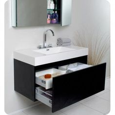 Shop for Fresca Mezzo Black Bathroom Vanity with Medicine Cabinet. Get free delivery On EVERYTHING* Overstock - Your Online Furniture Outlet Store! Black Vanity Bathroom, Modern Bathroom Cabinets, Diy Cabinets, White Bathroom, Bathroom Furniture, Bathroom Interior, Small Bathroom, Master Bathroom, Bathroom Ideas