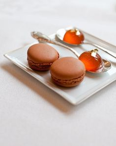 Salted butter caramel macarons and orbs of English Gray tea at Le Bistrol.